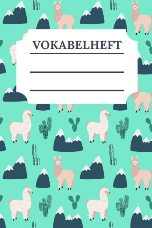 Cover Vokabelheft Alpaka Design