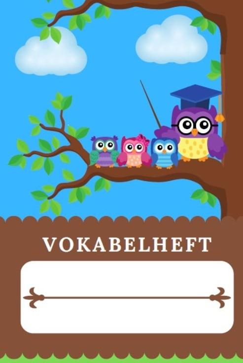 Cover Vokabelheft Eulen Design