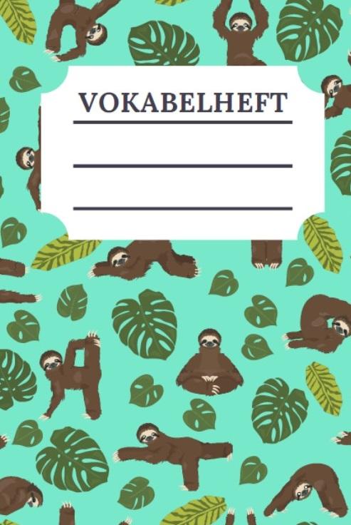 Cover Vokabelheft Faultier Design