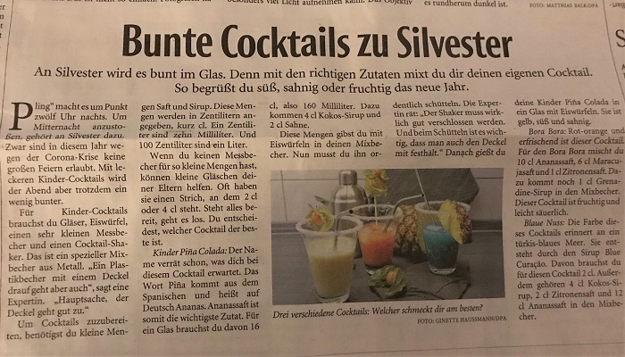 30am30 - Zeitungsartikel Kinder-Cocktails