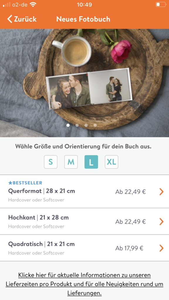Fotobuch von Albelli - Screenshot von der App