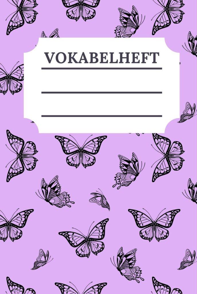 Cover Vokabelheft Schmetterling Design