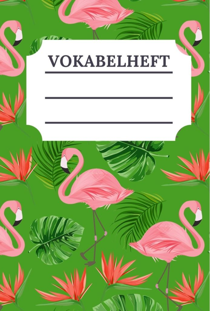 Cover Vokabelheft Flamingo Design